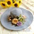fashion summer wide brim chapeu feminine handmade flower floral straw hat bucket sun beach hat for women