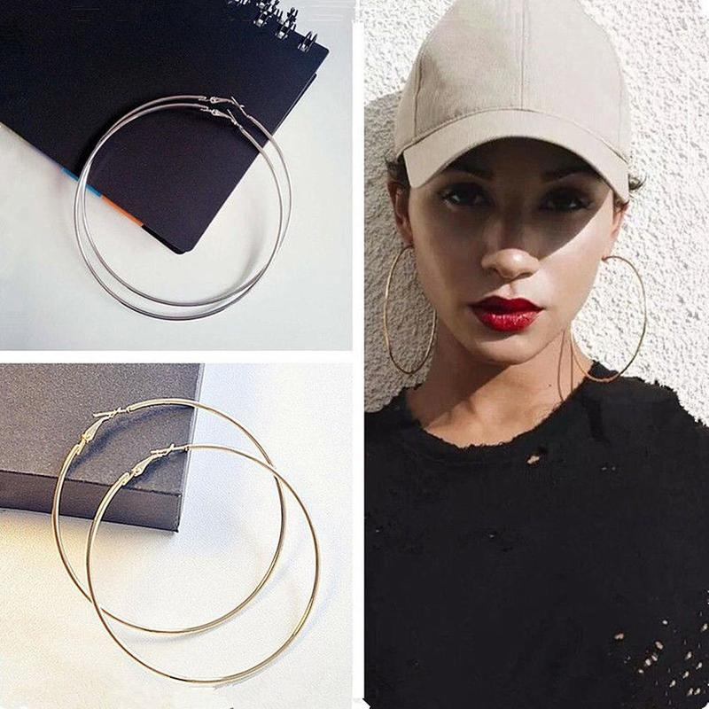 1pair Fashion Women Girl Hoop Earrings Accessories Exaggerated Hoop Earrings Ear Cuff Boucle D'oreille Femme Jewelry