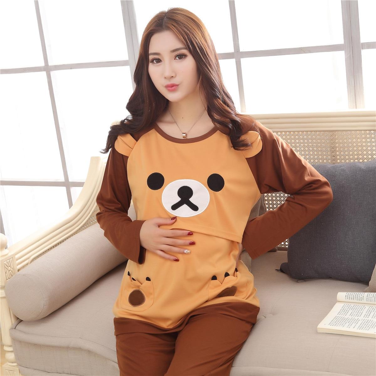 Spring Autumn high-grade Maternity Sleepwear Lounge Sets Nursing Tops + Pants Breast Feeding Pajamas Clothes For Pregnant Women