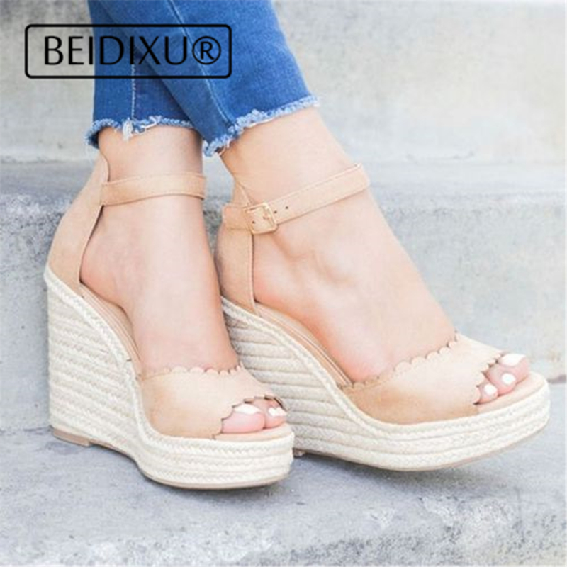 f70fca805f83 NAUSK Bohemian Women Sandals Ankle Strap Wedges Beads Ladies Platform Shoes  Plus Size Straw High Heels ...