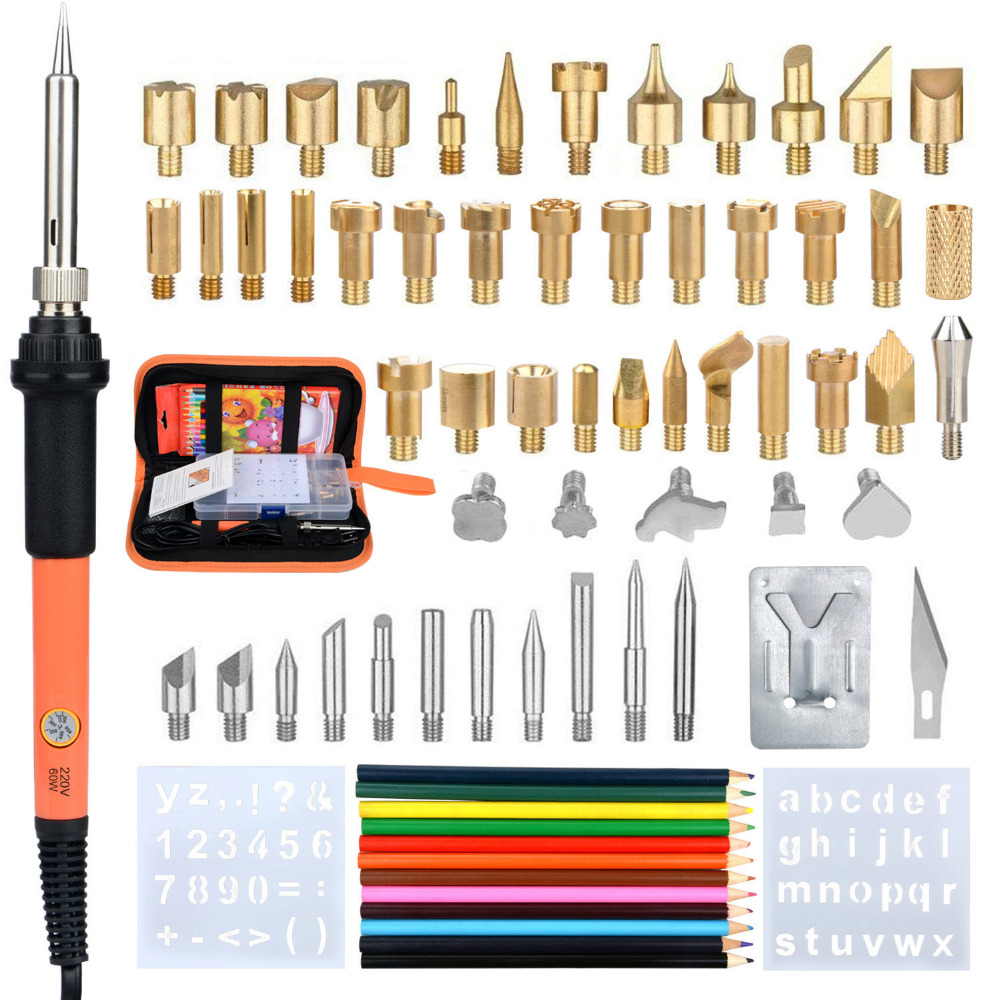 71PCS Electric Soldering Iron Kit Temperature Welding Carved Eectric Iron Tool Set Wood Embossing Burning Soldering Set