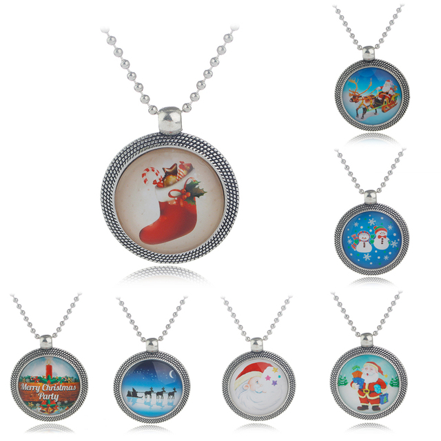 7 Styles Merry Christmas Jewelry Santa Claus Sled Boot Snowman Christmas Tree Pendant Necklace Xmas Gift