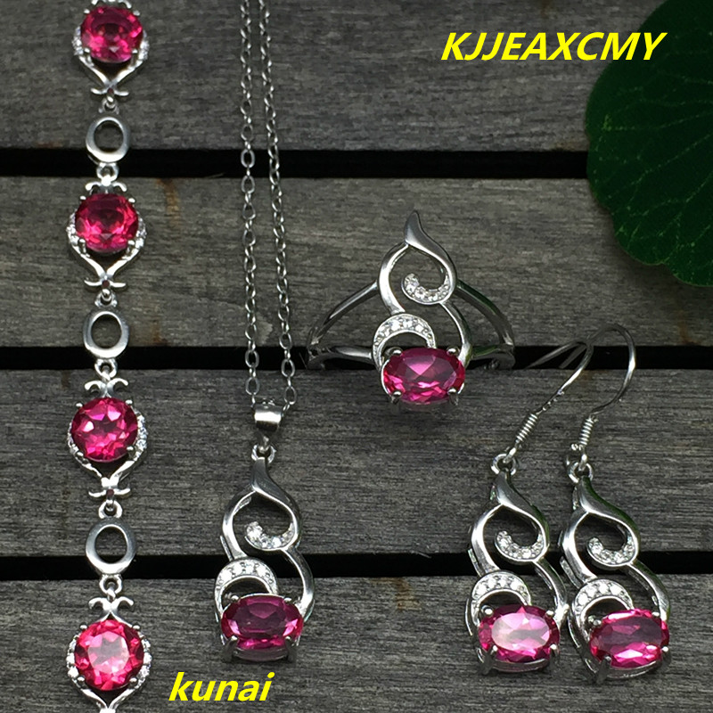 KJJEAXCMY boutique jewels 925 silver inlay natural pink topaz ring pendant earrings bracelet 4 suit jewelry necklace sen kjjeaxcmy boutique jewels 925 silver inlay natural pink topaz ring pendant earrings bracelet 4 suit jewelry necklace sen