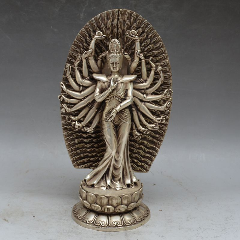 Archaize pur cuivre cuivre argent mille mains kwan-yin stand lotus kuan yin feng shui articles d'ameublement