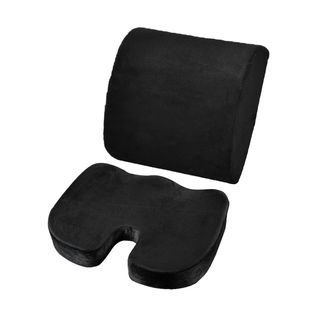 2PCS/SET Comfortable Memory Foam Orthopedic Seat Cushion Waist Back Brace Support Set for Home Office Health Care Cushion