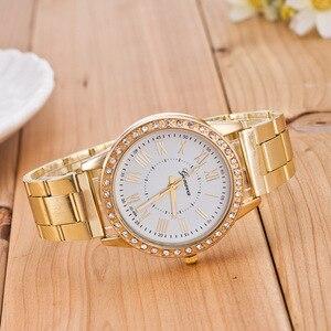 أزياء النساء الساعات الفاخرة جنيف المرأة الماس الذهب ساعة معصم السيدات اللباس ساعة montre فام reloj موهير relogio