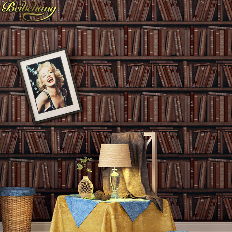 beibehang papel de parede 3D American country vintage brown bookshelf wallpaper for walls 3d living room bedroom wall paper roll beibehang papel de parede american country 3d wallpaper retro blue branch living room tv background wall paper bedroom nostalgia