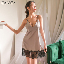 Caiyier Lace Nightgown Sexy Backless Silk Satin Nightdress Summer Mini Night Dress Thong Black V-Neck Sleepwear Ladie Homewear