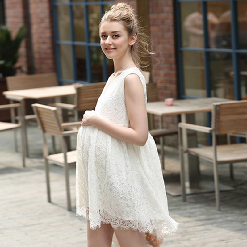 HI BlOOM Maternity Clothes Fashion Summer New Arrival Lace White Dress for Pregnant Pregnancy Loose Temperament Plus Size HOT 2016 summer new maternity clothes for the pregnant women 100% cotton fashion maternity dress doll dress big size gravida clothes