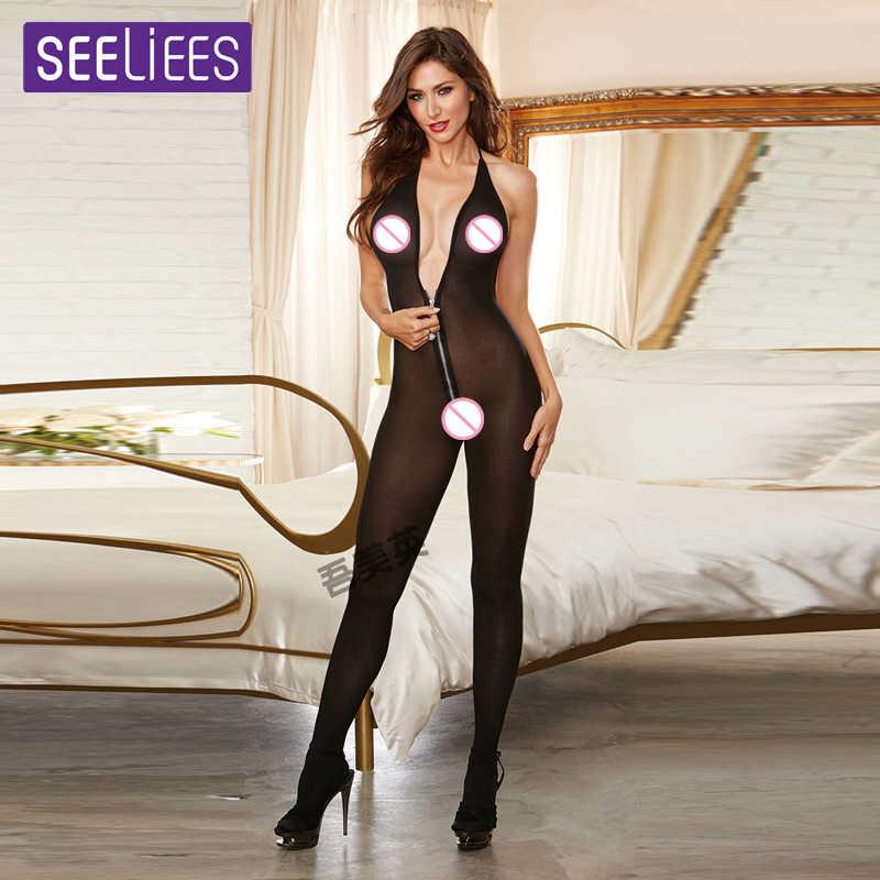SEELIEES эротическое сексуальное боди, женское белье прозрачные женские глубокий V открытая молния в промежности чулок для тела латексный комбинезон для секса SC70