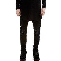 Nowy Hi-Street Mężczyzna Czarny Ripped Jeans Men Udzielenie Skinny Jeans Plus Rozmiar 27-40 Mody Męskiej Zniszczone Denim Jeans Spodnie, YA022