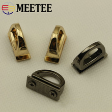 hot deal buy meetee 5pcs 14mm metal d ring bag side clip buckles screw handbag chain hang buckle diy hardware parts strap clasps accessories