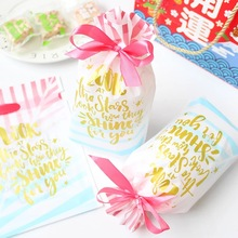 new 23.5*14.8cm 10pcs watercolour pink blue design Gift Wrap Storage bag party Decoration Plastic Packaging keep use