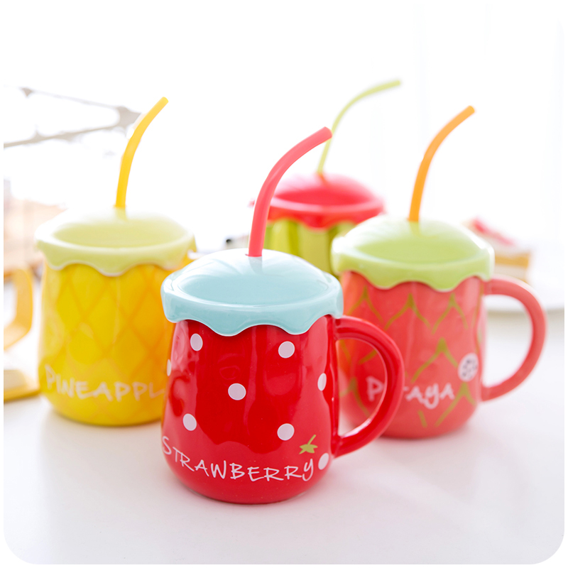 Cute Fruit Mugs Ceramic Water Container Creative Porcelain Coffee Milk Mug Cup With Lid and Straw Spoon Fruit Shaped Cups