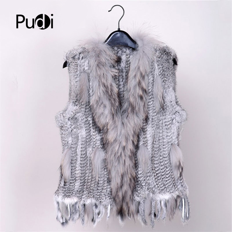 2019 New Colors Women Genuine Real Rabbit Fur Vest Coat Tassels Raccoon Fur Collar Waistcoat Wholesale Drop Shipping VR032