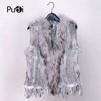 2019 new colors Women Genuine real Rabbit Fur Vest coat tassels Raccoon Fur collar Waistcoat wholesale drop shipping VR032