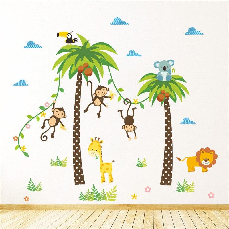 Jungle Wild Animals Giraffe Lion Monkey Palm Tree Wall