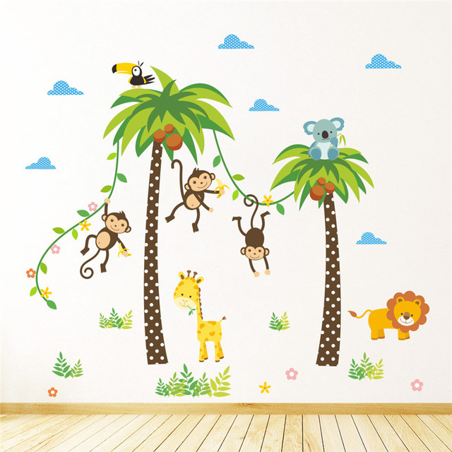 Jungle Wild Animals Giraffe Lion Monkey Palm Tree Wall Stickers For Kids  Room Children Wall Decal