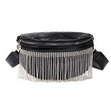 Women's Bag For The Belt Waist Bag PU leather Tassel Drill Chain Fanny Pack Bananka Travel bum bag Women Belly Band Belt Bag