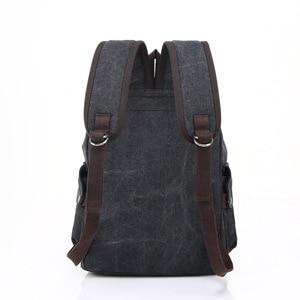 Image 3 - Mens Laptop Computer Backpack High quality Canvas Backpacks Teenage School Bag Fashion Travel Backpack Large Capacity Daypacks