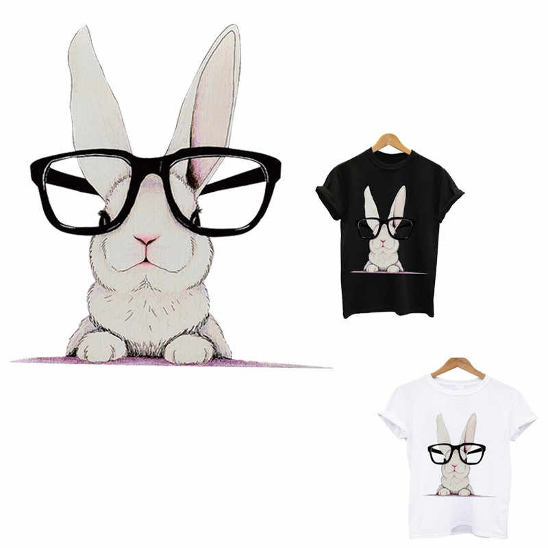 rabbit thermo stickers on clothes iron on patches application of one heat-sensitive patches flower applique stickers stripe tops