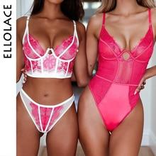 Ellolace Mesh Lace Bodysuit Women Jumpsuit Pink Sexy Body for V-Neck Transparent Bodycon Black Overalls