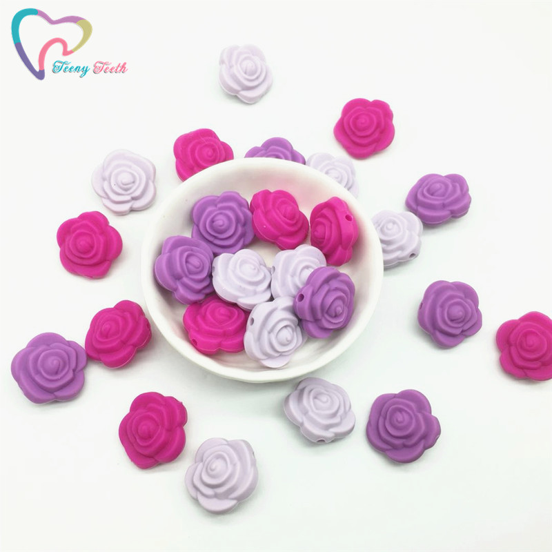 Beads Teeny Teeth 9 Pcs Rose Silicone Beads Bpa Free Silicone 3d Rose Flower Diy Teething Beads For Food Grade Nursing Necklace Toys Attractive Appearance Beads & Jewelry Making