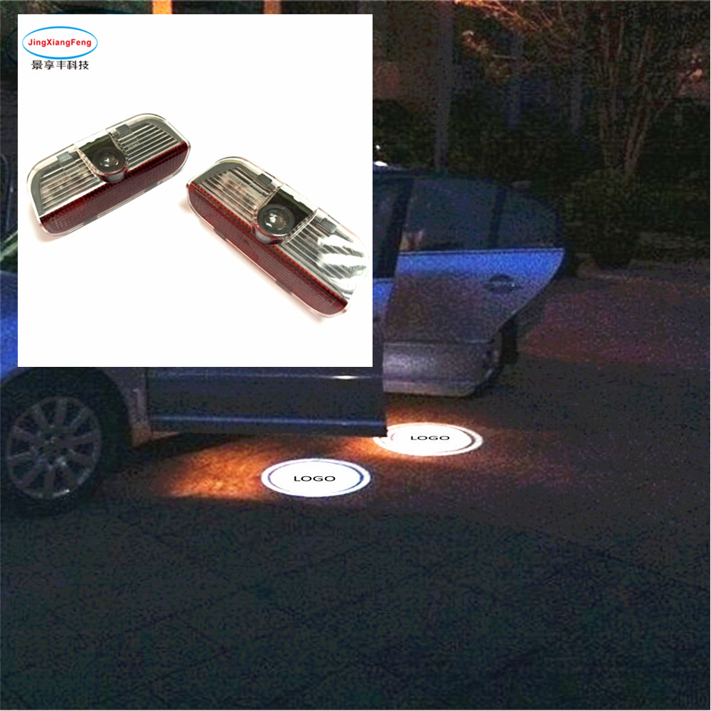 car accessories 2X Led Logo Lamp Door Welcome Light Courtesy Decorative Light For Skoda for VW car styling accesorios automovil