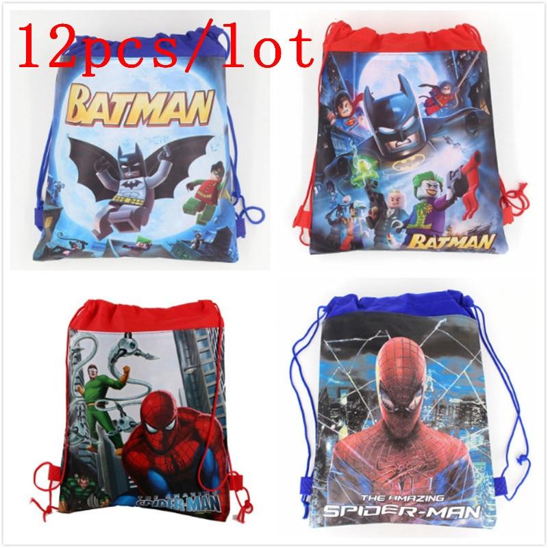 12pcs/lot Spiderman Cartoon New Backpack Non-woven Fabrics Back Pack Drawstring Batman Bags Spider Man Children School Bag