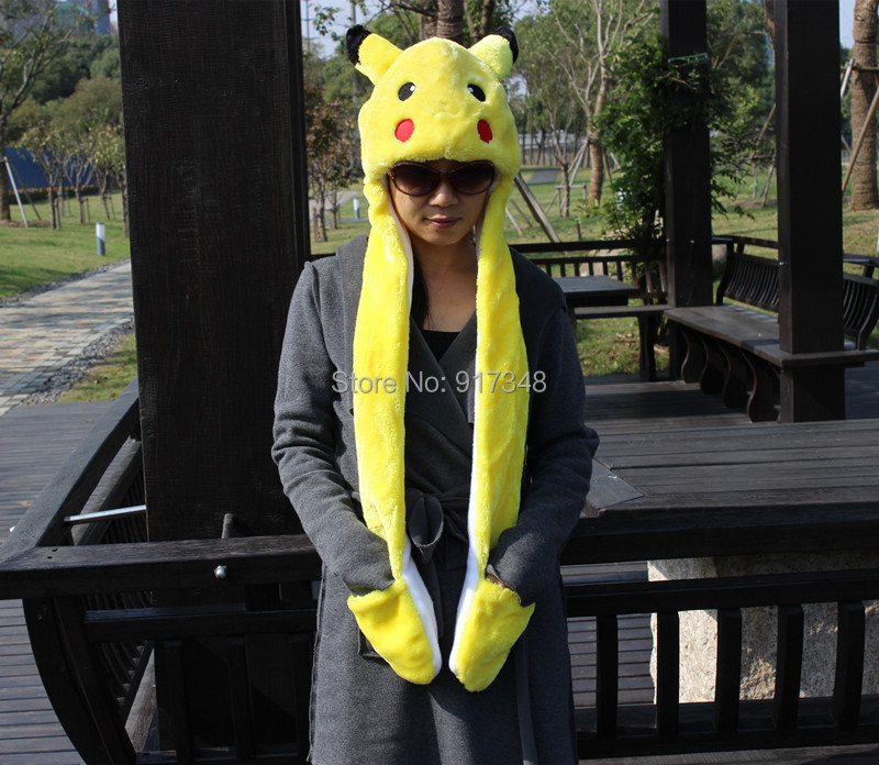 Animal Cartoon Winter Warm Hat Scarf Glove Pokemon Character Pikachu ... 328d2f82f2a