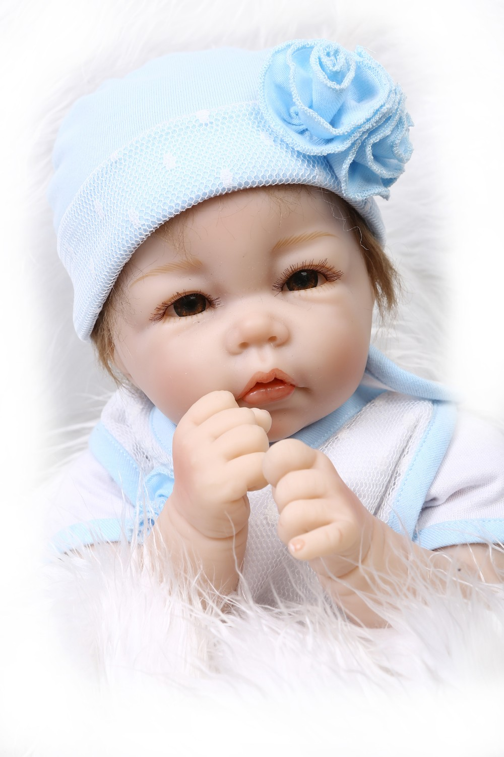 wholesale22inch haft soft body doll reborn baby doll educational doll lifelike soft silicone vinyl real gentle touch