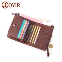 JOYIR Men Wallets Genuine Leather Wallets For Credit Card Holder Coin Purse Zipper&Hasp Trifold Wallet RFID Portomonee Male цены