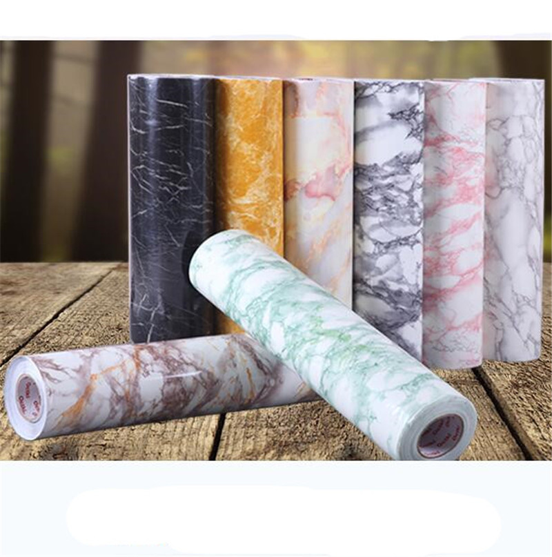 Hot Marble Waterproof Vinyl Self adhesive Wallpaper Sticker Modern Contact  Paper marble sticker for Kitchen Cupboard 8 colors-in Wallpapers from Home  ...