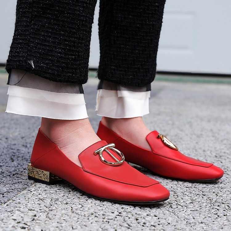 Big Size 9 10 11 12 delle signore degli alti talloni delle donne scarpe da donna pompe Piazza a capo scoperto pesante singolo col tacco alto scarpe con fibbie in metallo