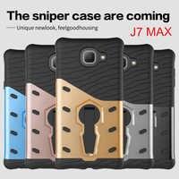 Para Samsung Galaxy J7 MAX caso para Samsung J7 MAX de la PC de la cubierta y híbrido TPU armadura cubierta de rotar soporte funda de teléfono 5,7''