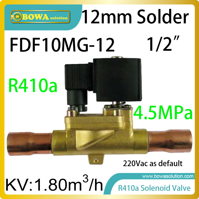 R410A refrigerant solenoid valve (Normal Close) is installed in hot gas bypass line working with bypass valve for anti-freezing r410a hvac r solenoid valve with 4 5mpa working pressure is also suitable for r32 air condtioner or water chillers