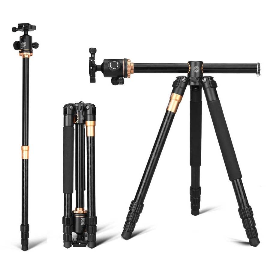 Q999H profesional trípode de cámara 61 pulgadas portátil de viaje compacto sistema Horizontal trípode para Canon Nikon Sony DSLR SLR cámaras