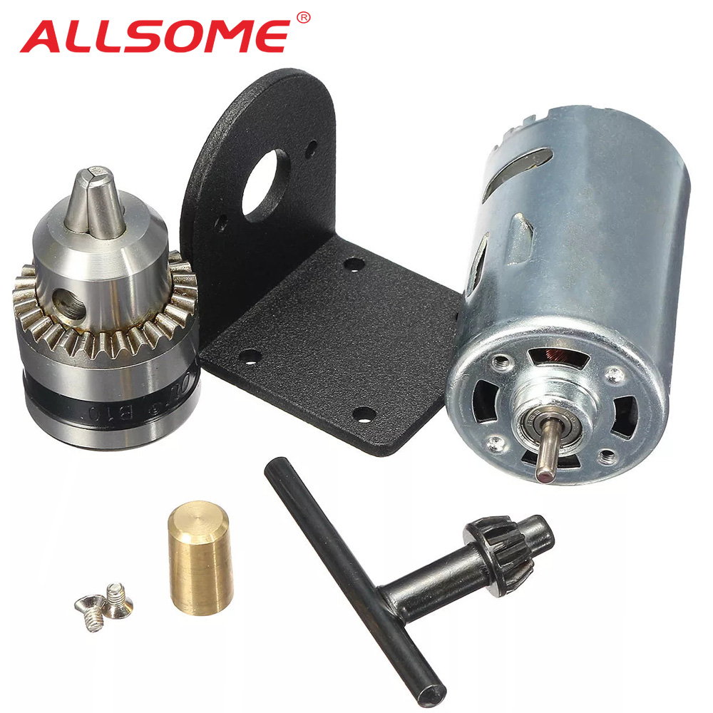 ALLSOME <font><b>DC</b></font> 12-36V Lathe Press <font><b>555</b></font> Motor With Miniature Hand Drill Chuck and Mounting Bracket HT2721 image