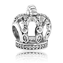 925 Sterling Silver Bead Fairytale Crown Charm Clear CZ Fit Original Pandora Bracelet Bangle for Women DIY Europe Jewelry Gift