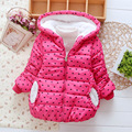 2016 novo meninas moda Outwear quente Crianças bonito roupas de inverno princesa casaco de algodão Casacos para Crianças 3-5 anos velho