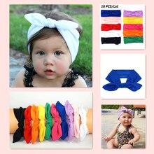 Children Bunny Ear Headband Scarf 10pcs/lot Hair Head Band Cotton Bow elastic Knot Headband rabbit baby hair accessories kids