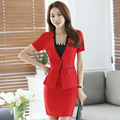 (Jacket+Skirt) Summer Fashion OL Skirt Suit Short Sleeve Work Suits Designs Beauty Salon Uniforms For Women Office Uniform