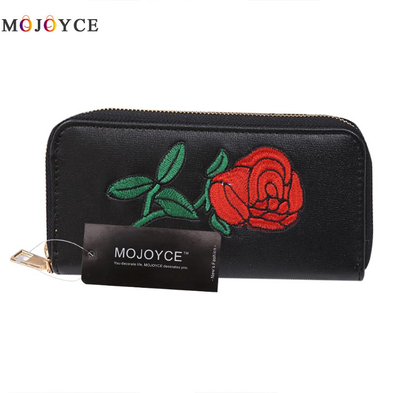 Rose Embroidery Women Lady Long Wallets Purse Female Candy Color PU Leather Carteira Feminina for Coin Card Clutch Bag guapabien women purse long bow wallets candy color wallet pu thin card holders purse female carteira feminina portefeuille femme