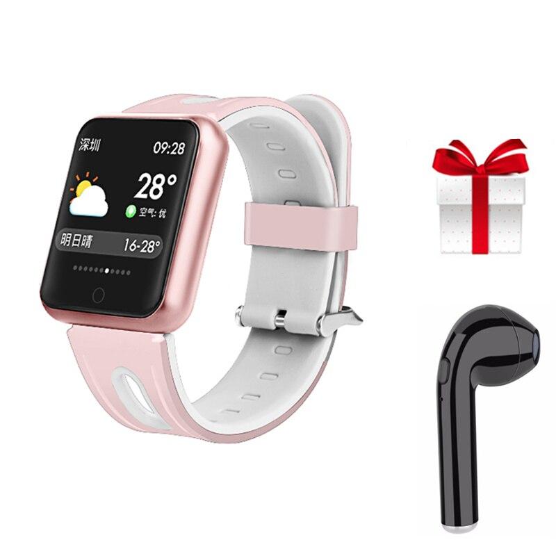 Gimnasio reloj pulsera P68 ip68 impermeable para apple watch xiaomi Android ios con monitor de ritmo cardíaco banda inteligente + auricular