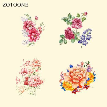ZOOTONE Flower Applique Iron on Patches Print on T-shirt Dresses Punk Hippie Skull Heat Transfers Appliqued A-level for Clothing