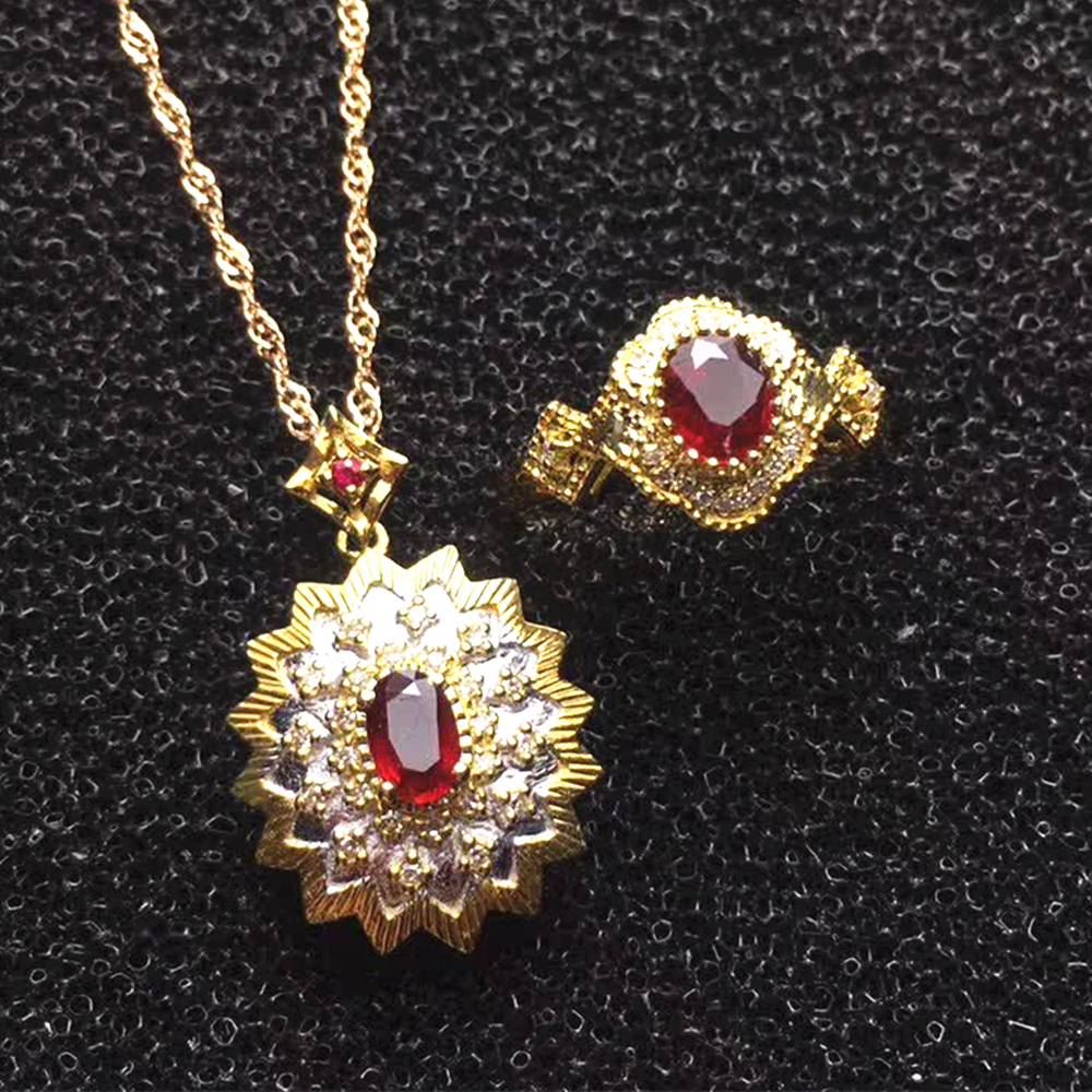 Jewelry Supplier Saudi Luxury 18k Gold South Africa Real Diamond Natural Red Ruby Ring Necklace Pendant Jewelry Set For Women Jewelry Sets Aliexpress