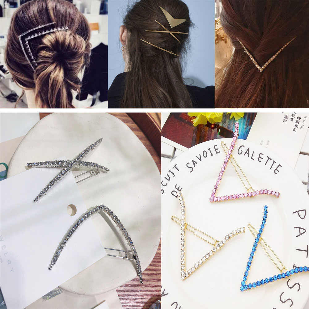 Women Fashion Hair Accessories Gold Silver Geometric Hairpins Elegant Barrettes V Shape Hairgrips Hair Ornament Headbands