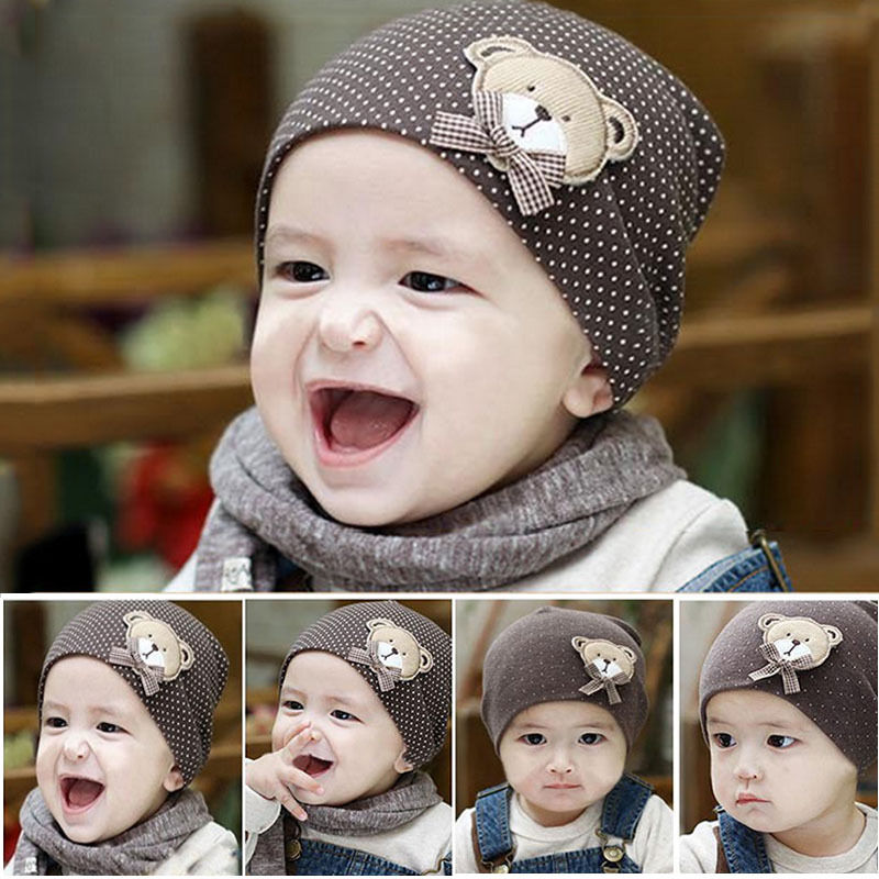 2017 Hot Sale 1 Pcs Cute Winter Autumn Newborn Crochet Warm Cotton Baby Beanie Hat Girl Boy Cap Children Unisex Bear hot winter beanie knit crochet ski hat plicate baggy oversized slouch unisex cap