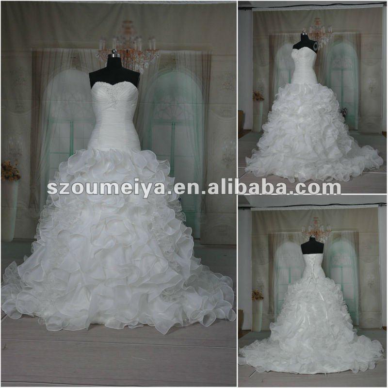 Oumeiya orw245 organza puffy skirt heart shaped wedding for Heart shaped wedding dress