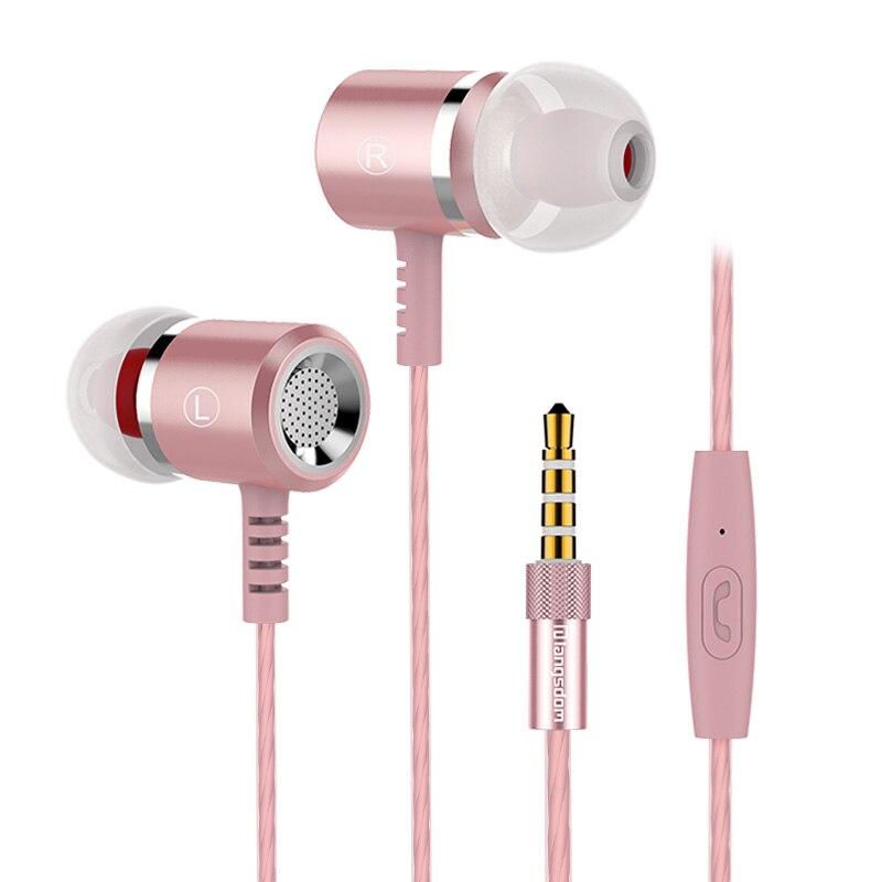 Rose Gold Original Earphones Head phones Metal 3.5MM Stereo Bass Auriculares For iphone Samsung Xiaomi Earphone Headphone metal ring holder for smartphones rose gold